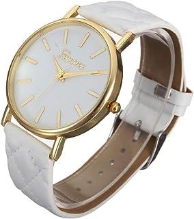 Hemlock Round Womens Quartz Watches PU Leather Band Gold Watches White