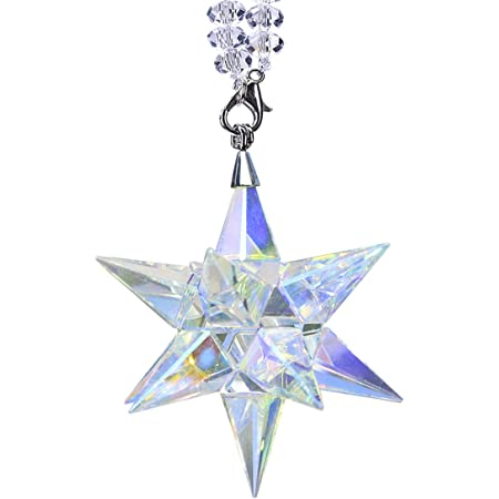Amazon Com Qf Crystal Ornament Morning Star Shaped Ornament Christmas Snowflake Hanging Pendant Ab Color Decor Furniture Decor