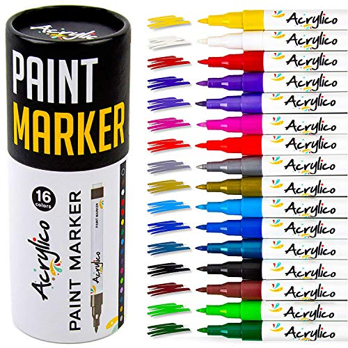 Acrylico Markers Set of 16 Colors Acrylic Paint Markers. Extra Fine Tip Paint Pens for Rocks Canvas Ceramic Wood Glass Mugs and Stones