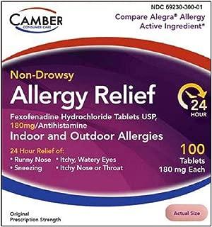 Camber Consumer Care Fexofenadine Hydrochloride Non-Drowsy Allergy Medicine for Men/Women, HCI Hydrochloride 180 mg (100 Count)