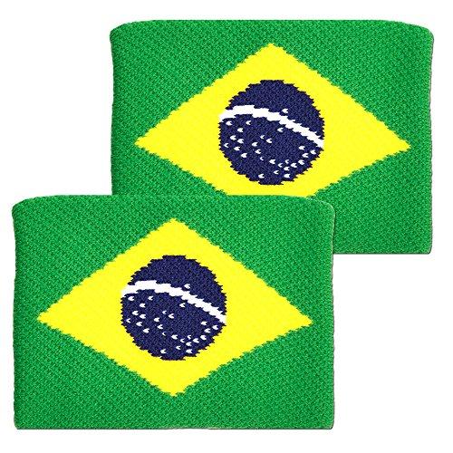 Tourna Unisex Adult Braziliaanse Vlag Tennis Polsband - Blauw