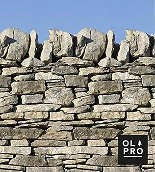 Olpro Wall 4 Pole Camping Wind Break Stone Wall Windbreak, OL655, Gris Stone, 4.8 x 1.4 m