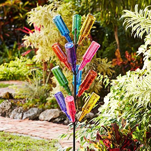 BrylaneHome Glass Bottle Tree Yard Art Outdoor Decoration, Multi
