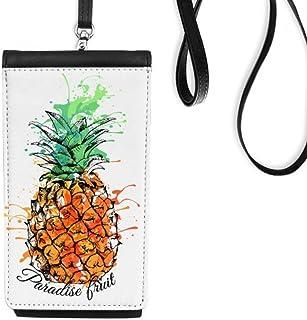 DIYthinkerOrange Pineapple Tropical Fruit Phone Wallet Purse Hanging Mobile Pouch Black Pocket