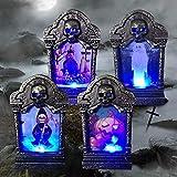 XXLYY 4Pcs Halloween LED Tombstone Light Set Cementerio Lápida Lámpara Color Flash Calabaza/Fantasma/Bruja/Esqueleto Elemento Luz de Vela con batería Jardín Fiesta Rip; Cor