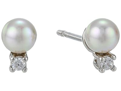 Majorica 4 mm Round Pearl and CZ Mini Short Earrings with Post On Rhodium-Plated (White) Earring
