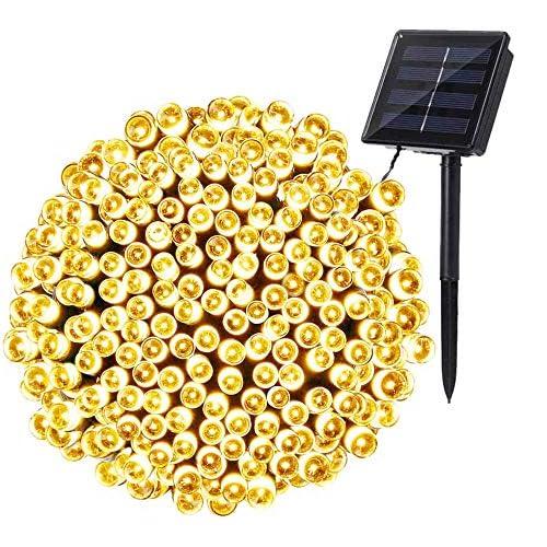Catena Luminosa Esterno Solare, BrizLabs 22M 200 LED Luci Natale da Esterni Impermeabile 8 Modalità Luci Stringa Solari con Memoria per Giardino, Natale, Balcone, Patio, Bianco Caldo