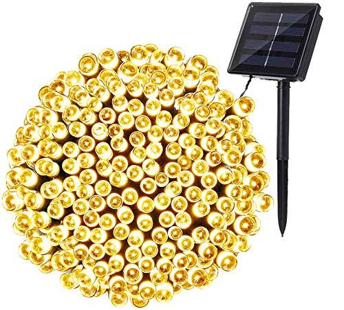 Guirnalda Luces Exterior Solares, BrizLabs 22M 200 LED Cadena de Luz Solar, Resistente Al Agua 8 Modos Luces Solares Interior con Memoria Decoración Para Jardines, Patio, Dormitorio (Blanco Cálido)