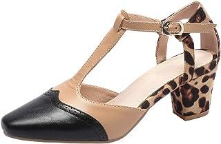 aa596fbc74 DecoStain Women's Plus Szie Contrast Color T-Strap Pumps Block Heel Square Toe  Pumps Shoes