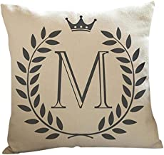 Usstore 1PC Decorative Pillowcases Letters Pattern Print Waist Throw Pillow Cover Cafe Home Decoration for Living Sofas Beds Room (M)