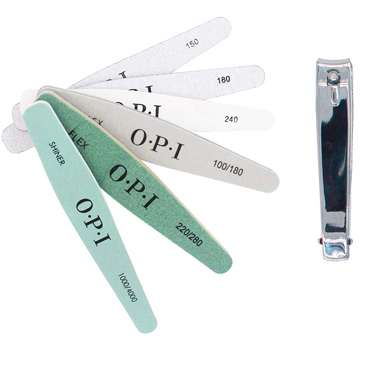 休憩する商業の盲信KINYOOOスポンジファイル、爪やすり、ネイルをつやつやに、のネイルツール、 150/180/200/240/280/1000/4000と(1 PCSメタルネイルはさみ)、ネイルケア用化粧マニキュアペディキュアセット。