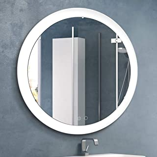 Nitin Wall Mounted Vanity Mirror with Light, Modern Circle Makeup Mirror with Smart Touch Control Dimmer for Bedroom, Bathroom
