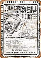 8 x 12 cm メタル サイン - 1902 製粉小麦コーヒー メタルプレートブリキ 看板 2枚セットアンティークレトロ