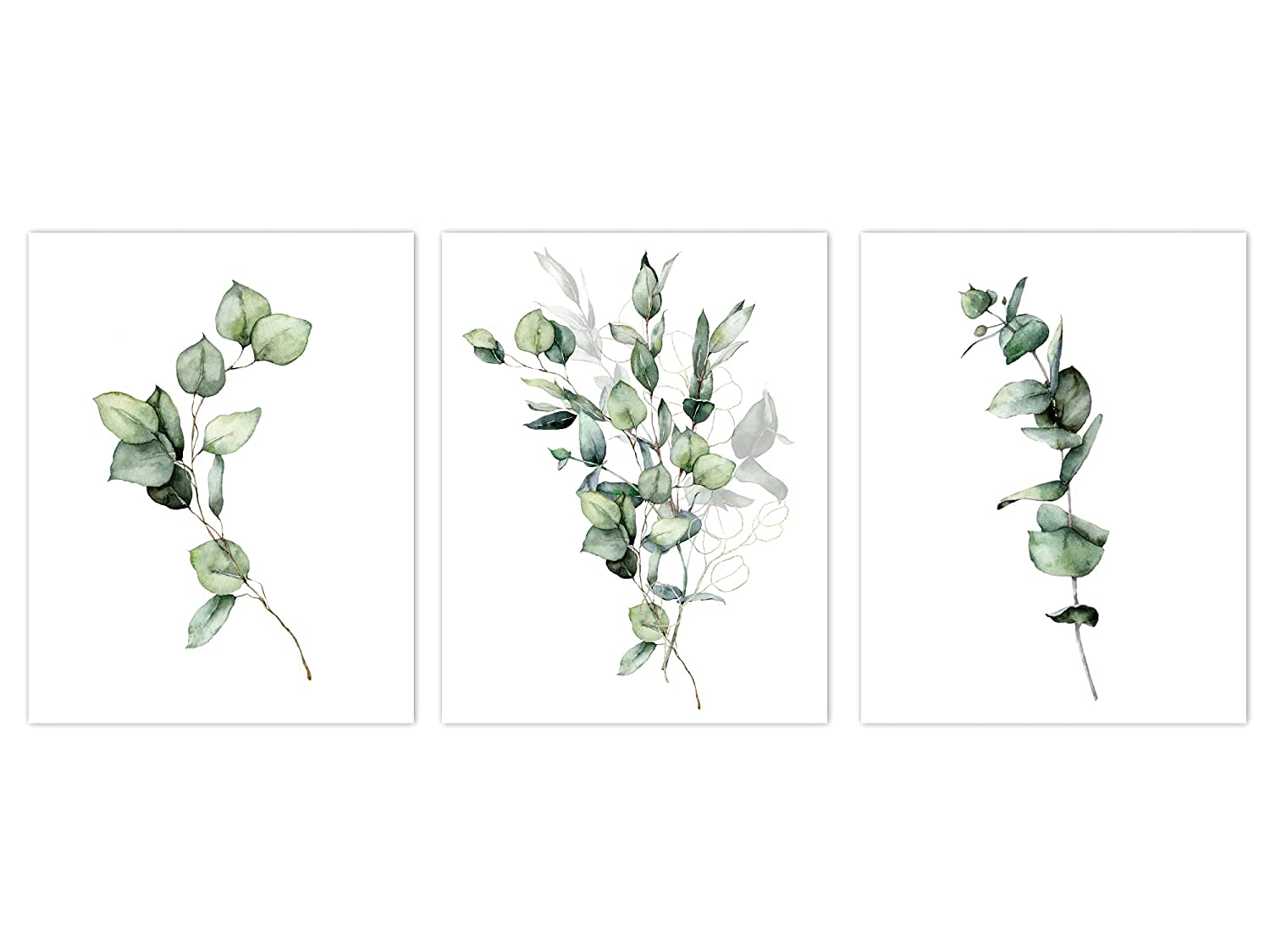 Eucalyptus Manufacturer direct delivery Art Prints Set of 3 Watercolor Minimalist Painting Ranking TOP1 Pl