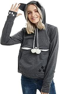 Womens Pet Carrier Hoodie Sweatshirt - Long Sleeve Kangaroo Holder Pullover Womens Tops Kitten Puppy Pouch Hooded