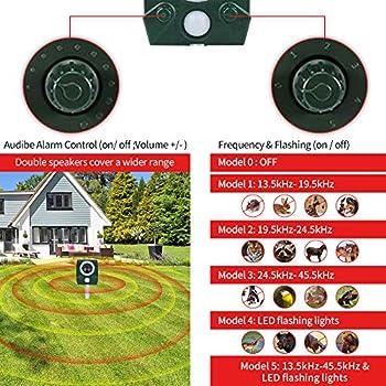 AWLGAK Répulsif solaire pour chat avec alarme pour chats, chiens, oiseaux, renards, jardin et ferme
