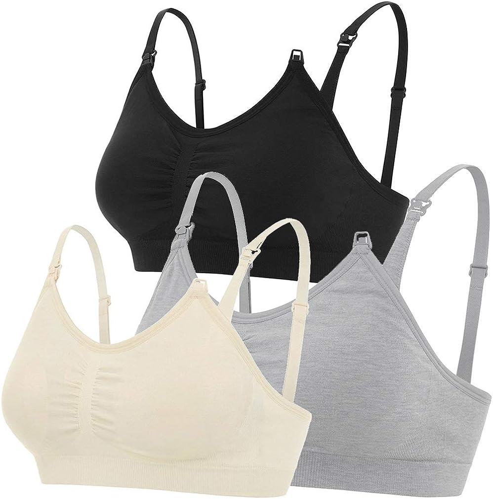 3//4 Pack Nursing Maternity Bra Breastfeeding Wire Free Push Up Women Tank Top US
