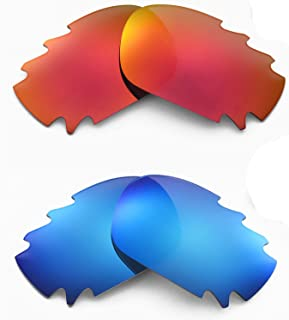 Walleva Polarized Fire Red + Ice Blue Vented Lenses for Oakley Racing Jacket
