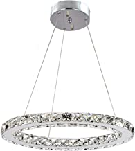 "Ganeed Modern LED Crystal Chandeliers, Adjustable Stainless Steel Pendant Lighting Ceiling Lights Fixtures for Living Room Bedroom Restaurant Porch Dining Room, One Rings (Dia 11.8"",6500K)"