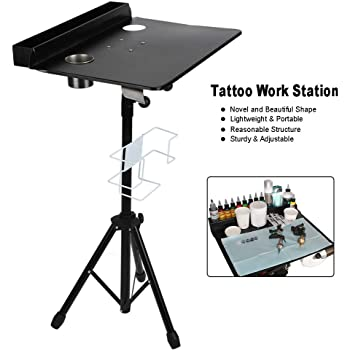Mesa de Trabajo para Tatuar Soporte de Estación de Portátil para Salón y Tienda de Tatuaje Tabla de Visualización, Ajustable 61-107 cm: Amazon.es: Belleza