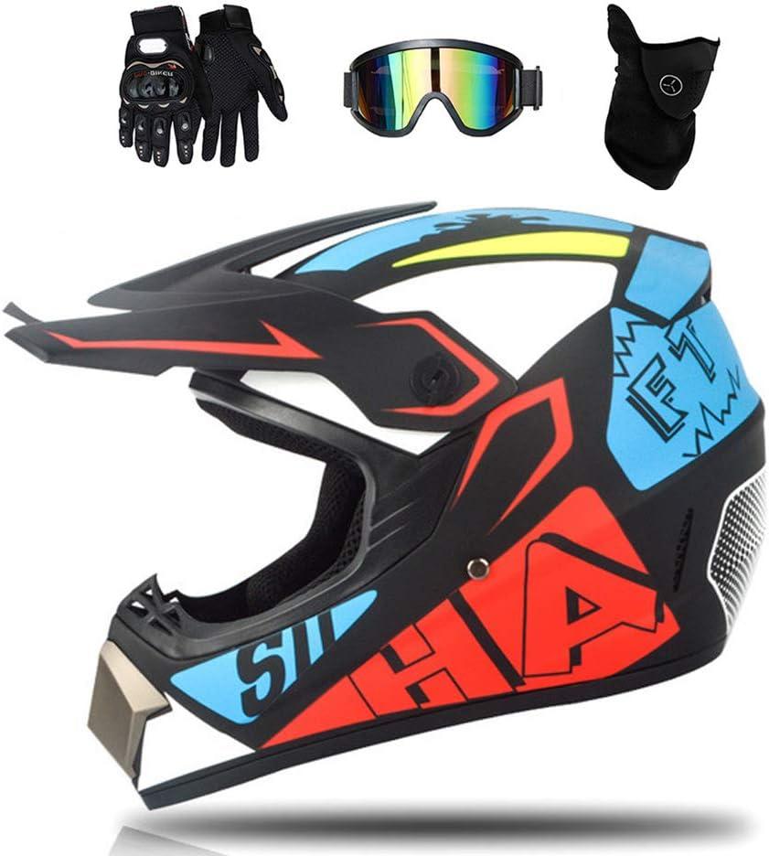 Casque de motocross pour enfants avec visi/ère lunettes masque gants int/égral motocross VTT pour ATV Downhill s/écurit/é protection XL