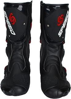 ライディングシューズ ロング ライダーブーツ バイクウエア レーシングブーツ プロテクトスポーツブーツ ブラック&25.5-26CM 41