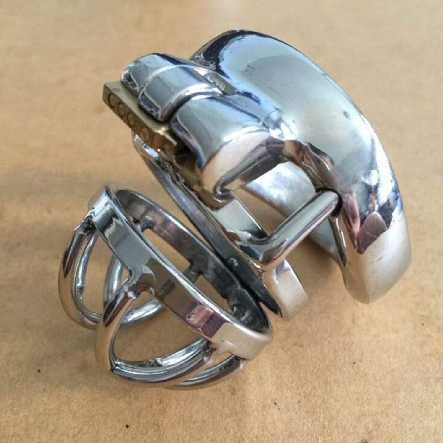 CJH Men's Portable Stainless Steel Chastity Lock Curved Snap Ring Alternative Sex Toys