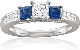 14k White Gold Princess-cut Three-Stone Diamond & Blue Sapphire Engagement Ring (1 1/7 cttw, I-J, I1-I2)