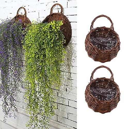 Chytaii - 2 cestas de flores para colgar, cesta de flores de mimbre de mimbre para colgar en la pared, de boda, de jardín
