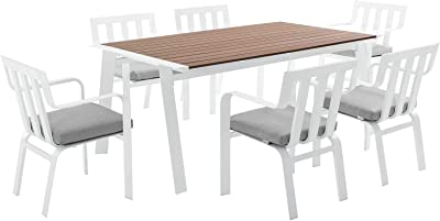 Modway EEI-3965-WHI-GRY Baxley Dining Sets, Six, White Gray