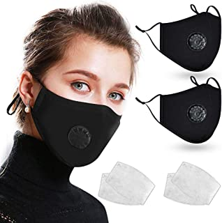 2 Pack Cotton Face Bandana Shields with Breathing Valves, Loisuzn Washable Reusable Protective Fabric Cloth with 4 Carbon Filters and Adjustable Ear Loops - Black