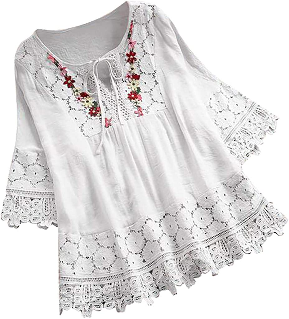 Plus Size Tops for Women Vintage Lace Patchwork Bow Shirt Solid Color Tunic Three Quarter Sleeve Blouses