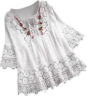 VEMOW Camisola Tops Mujer Vintage Jacquard Tres Cuartos de Encaje con Cuello en V Talla Grande Blusas Superior