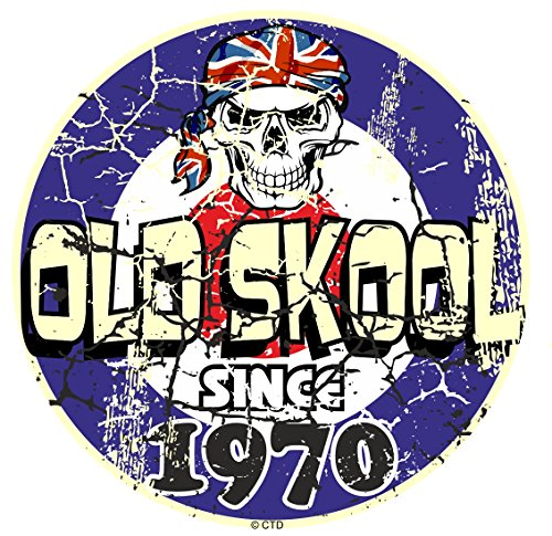 Effet vieilli vieilli vintage style old skool depuis 1970 Rétro Mod RAF Motif cible et crâne vinyle Sticker Autocollant Voiture ou scooter 80 x 80 mm