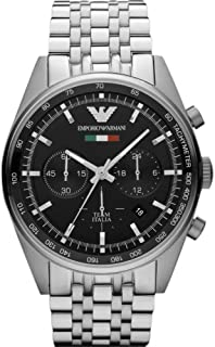 Emporio Armani Men'S Black Dial Stainless Steel Band Watch Ar5983, Quartz, Analog