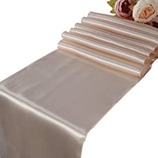 Champagne Satin Table Runners - 5 pcs Wedding Banquet Party Event Decoration Table Runners (Champagne, 5)