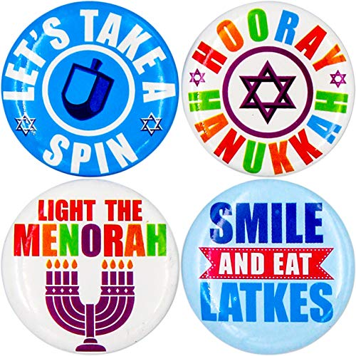Hanukkah Mini Round Buttons Chanukah Safety Pins (24-Pack)