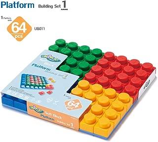 UNiPLAY Soft Block Platform Building Set 1 - Non-Toxic & BPA-Free - 64-Piece Multi-Color Set