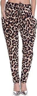 Womens Harem Pants Leopard Print Straight Leg High Waist Drawstring Casual Loose with Pocket Plus Size