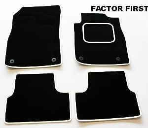 CITROEN DS3  10   CLIP  TAILORED FLOOR CAR MATS BLACK  amp  WHITE TRIM