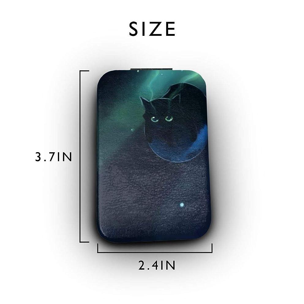 拳ロール特性ブラック猫 宇宙 ふんわり かわいい 携帯ミラー 手鏡 化粧鏡 ミニ化粧鏡 3倍拡大鏡+等倍鏡 両面化粧鏡 角型 携帯型 折り畳み式 コンパクト鏡 外出に 持ち運び便利 超軽量 おしゃれ 9.8X6.6CM