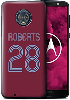 Personalized Custom Soccer Club Jersey Shirt Kit Case for Motorola Moto G6 2018 / Claret Blue Design/Initial/Name/Text DIY Cover