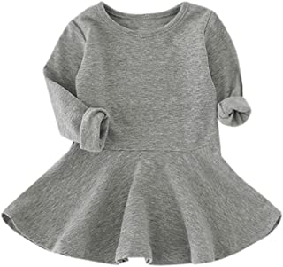 Adorable Cute Baby Girls Candy Color Princess Dress Long Sleeve Solid Casual Toddler Kids Dress
