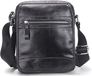 SHANGRUIYUAN-Bags Men's Simple Shoulder Bag Leather Casual Messenger Bag Fashion Leather Men's Bag (Color : Black)