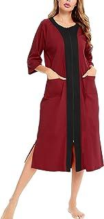 LecGee أردية بسحاب نصف كم Housecoat كامل الطول ملابس نوم داستر ملابس نوم طويلة مع جيوب