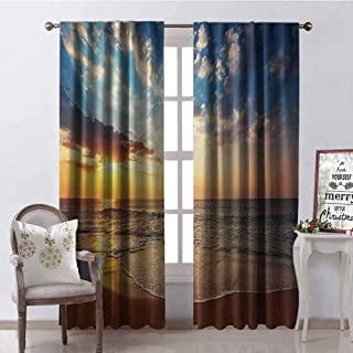 GUUVOR Ocean Heat Insulation Curtain Cloudscape Over The Sea Honeymoon Travel Destination Sunrise Panoramic Shot for Living Room or Bedroom W72 x G96 Inch Blue Yellow Brown