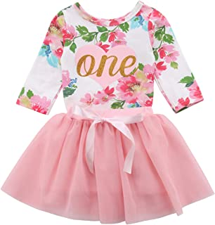 5a0cafd9f250 Baby Girls  1st Birthday Tutu Dress Sleeveless Floral Romper Top Lace Skirt  Clothes Easter Outfit