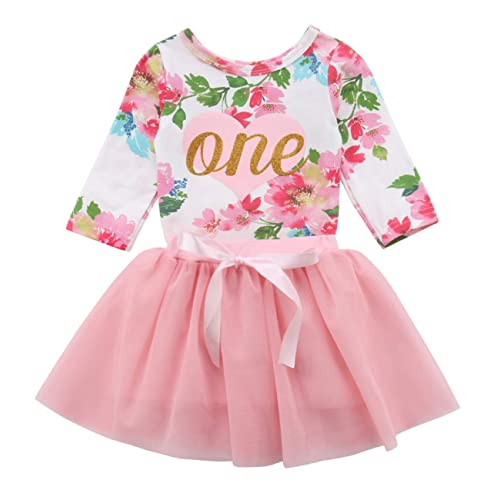 Baby Girls  1st Birthday Tutu Dress Sleeveless Floral Romper Top Lace Skirt Clothes  Easter Outfit acc733fbb104