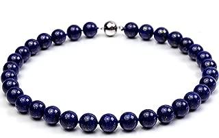 12mm Azure Blue Round Lapis Lazuli Beads Necklace Gemstones of Buddhism 17.5''