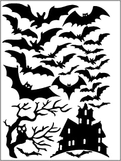 JnM Vinyl Studio Halloween Window Cling Set of Bats a Tree and Haunted House 8 x 11.5 Sheet Black